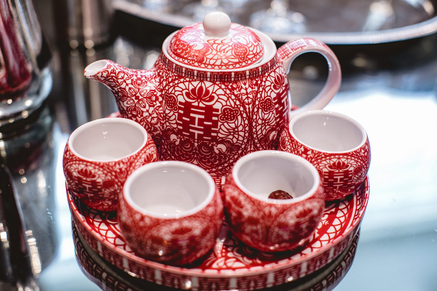 Chinese red tea set for wedding ceremony