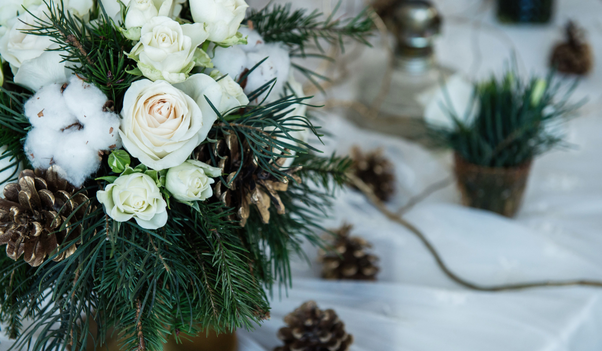 pine and evergreen wedding decor
